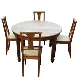 Französisch Art Deco Tisch mit 6 Stühlen