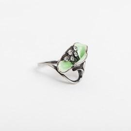 Klatschrose Emaille grün Ring