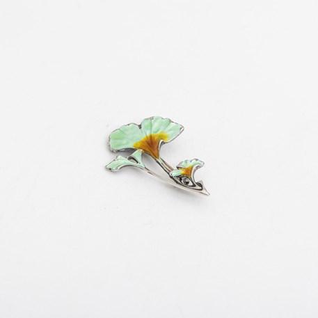Ginkgo Emaille Brosche/Aufhänger