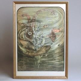 Farblithographie Jan Schonk - Spiegel Karpfen und Wasserkäfer