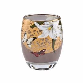 Tee-Licht Lilien und Schmetterlinge Grau
