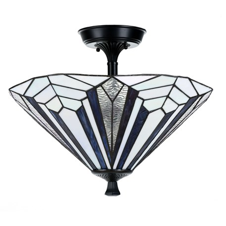French Art Deco Tiffany Deckenleuchte Blue
