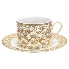 Art Deco Tasse und Untertasse Golden Ginkgo