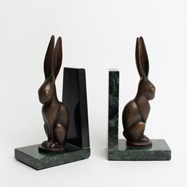 Satz Buchstützen Hare in Bronze