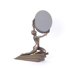 Skulptur Art Deco Dame mit Spiegel
