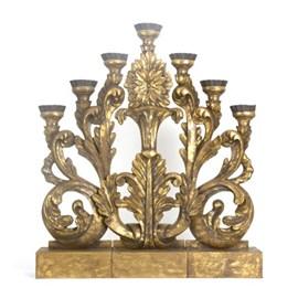 Kandelaar 3 delig goud gepatineerd houtsnijwerk