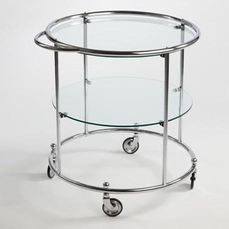Tea-trolley mit 2 Glasplatten auf Rädern