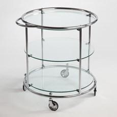Tea-trolley mit 3 Glasplatten auf Rädern