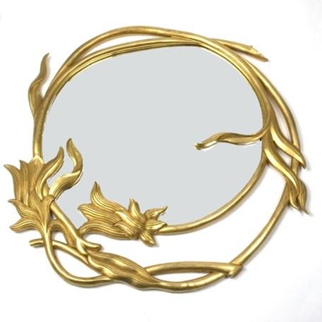 Hölzern Art Nouveau Spiegel Merveilleux Rund