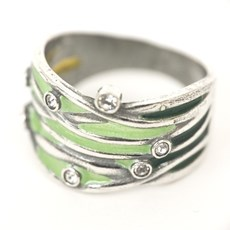 Grillige Groene Emaille Ring