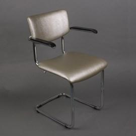 Chromrohr Stuhl Basic mit Armlehnen