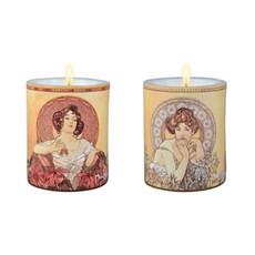 Satz mit 2 Kerzen Mucha