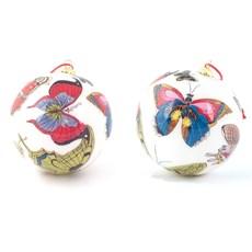 Set von 2 Glasdekoration Bälle Schmetterlingen